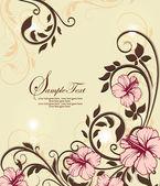 Cartão convite floral com flores — Vetor de Stock
