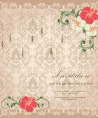 Floral invitation card — Cтоковый вектор