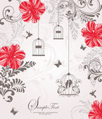 Wedding card or invitation with abstract floral background — Vector de stock