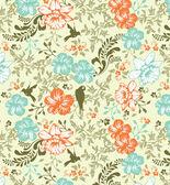 花を持つ偉大なシームレス パターン — ストックベクタ