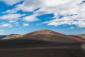 Panoramic landscape at Lakagigar, volcanic area with approx. 130 craters around the volcano Laki, southern Iceland — Stock Photo