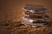 Stacked chocolate bars — Stock Photo