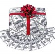 Money gift box with red ribbon and stack of dollars — Stock Photo