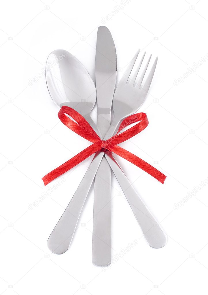 Silverware Set With Fork Knife And Spoon With Red Ribbon