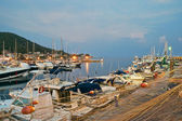 Acciaroli harbor at sunset — Stock Photo