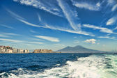 Mount Vesuvius and castle from a boat — Стоковое фото