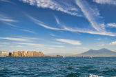 Mount Vesuvius and castle from the sea — Foto Stock