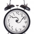 Stock Photo: Alarm clock with twisted arrows