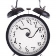 Alarm clock with twisted arrows — Stock Photo