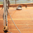 Ship rigging on old yacht - Stock Photo