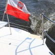 Poland Polish Ensign Flag on yacht sea — Stock Photo