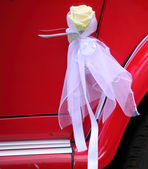 Detail of vintage red car door — Stock Photo