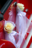 Detalhe da porta do carro vermelho vintage — Foto Stock