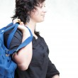 Woman smile nd shoulder bag isolated — Stock Photo #13014392