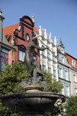 Fontana neptun in danzing di danzica, polonia — Foto Stock