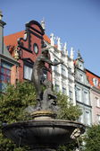 Fonte neptun em danzing de gdansk, polónia — Foto Stock