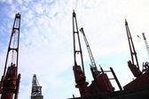 Red port crane terminal seaport — Stock Photo