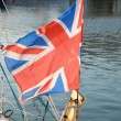 Stock Photo: British flag fluttering in the wind