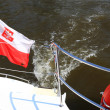 Poland Polish Ensign Flag on yacht sea — Stock Photo #13949731