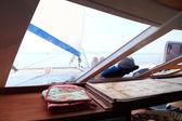 Horizonte barco Portilla velero vista océano azul marítimo cielo — Foto de Stock