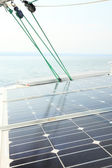 Solar Panels charging batteries aboard sail boat — Stock Photo