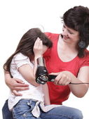 Woman and daughter Little girl dries hair isolated — Stock Photo
