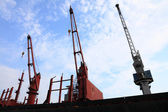 Red port crane terminal seaport — Stock Photo