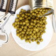 Can of food canned, tinned peas — Stock Photo
