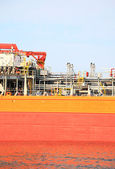 Gas-carrier for loading operation in the port — Stock Photo