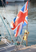 British flag fluttering in the wind — Foto Stock