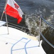 Poland Polish Ensign Flag on yacht sea — Stock Photo #19195965