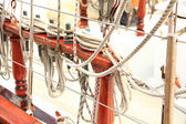 Ship rigging on old yacht — Stock Photo