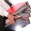 Mholding stack of folders - Isolated — Stock Photo #21594199