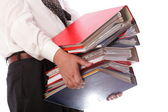 Man holding stack of folders - Isolated — Stock Photo