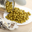 Can with canned, tinned peas, — Foto Stock