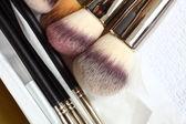 Make-up borstar - skönhetsbehandling — Stockfoto