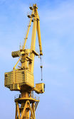 Yellow port crane terminal seaport — Stock Photo