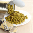 Can with canned, tinned peas, — Stok fotoğraf