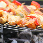 Bonfire campfire fire Flames grilling steak BBQ — Stock Photo #26286771