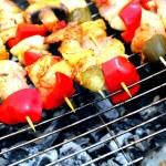 Bonfire campfire fire Flames grilling steak BBQ — Stock Photo #26287005