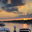 Stock Video: Sunset over the yacht marina