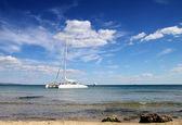 Catamaran near to the coast — Stock Photo