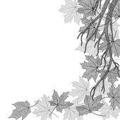 Autumn branch monochrome template — Stock Vector