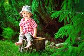 Carino piccolo ragazzo seduto su un tronco d'albero — Foto Stock
