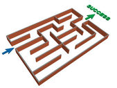 3d maze success concept — Stock Vector