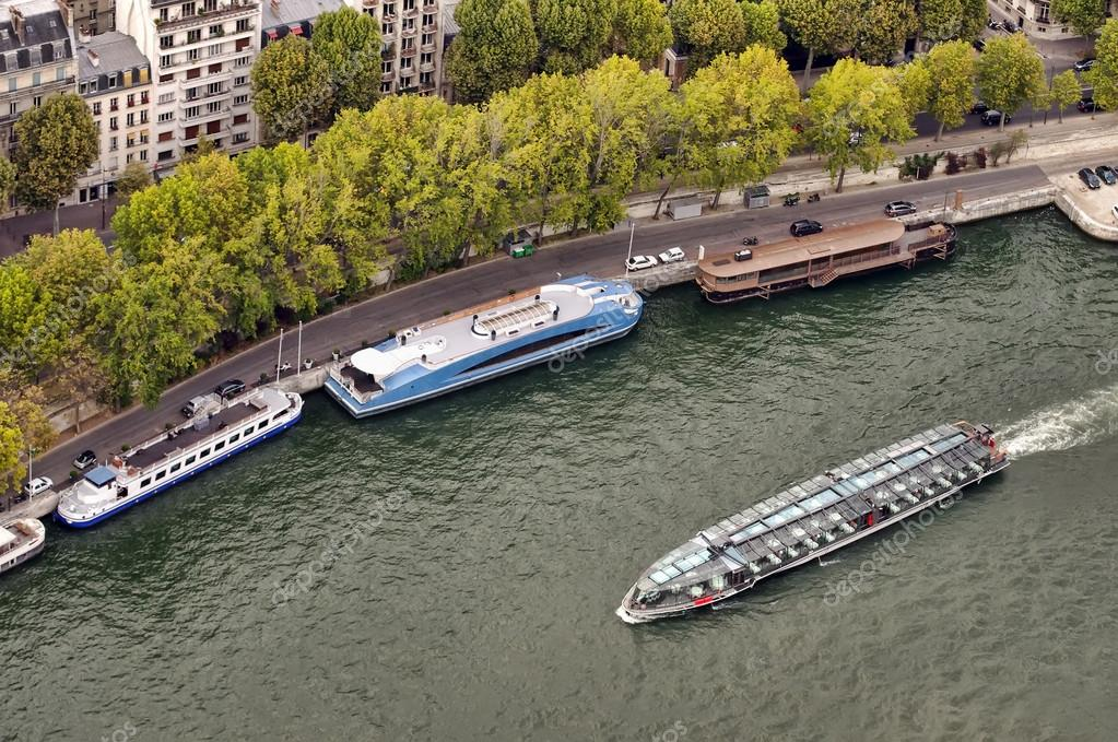 Boat on Seine river, view from Eiffel tower, Paris  — Stock Photo #12139673