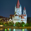 Church and Danube river in Vienna — Stock Photo