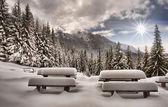 Panorama in montagna d'inverno — Foto Stock