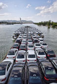 New cars on a boat — Stock Photo