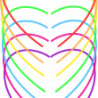 Hearts of rainbow — Stock Vector